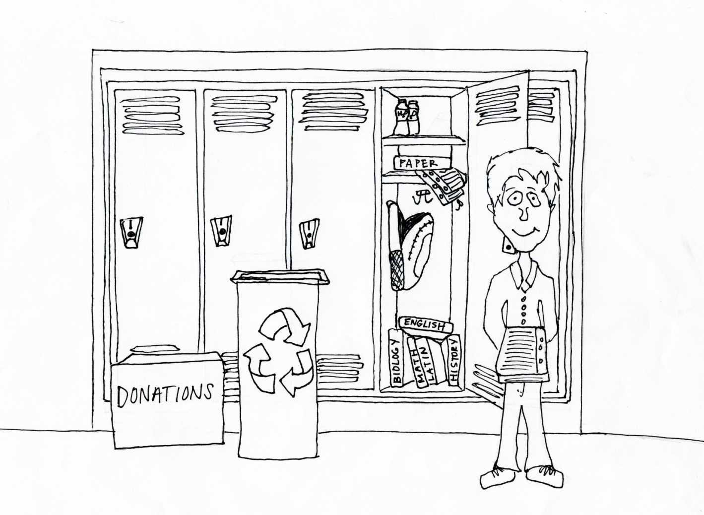 Cartoon by Emily Dawson '11. Not only can students relish in their goodwill towards the less fortunate, but they can also delight in their work to saving the planet.