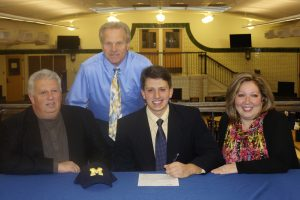 Carmen Benedetti 13 signed to play baseball for the University of Michigan on Tuesday, Nov. 14.  It is a terrific honor and Im really excited to play for the maize and blue in 2013, said Benedetti.