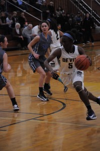 Cierra Rice '15 driving to the basket