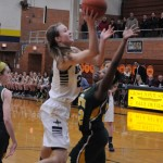 Claire DeBoer '13 going up for the bucket