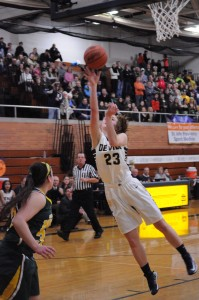 Claire DeBoer '13 shooting the two pointer