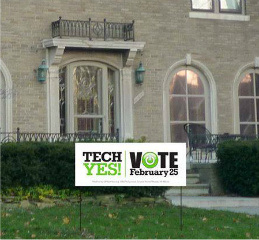 Photo courtesy of gptechyes.org. GP Tech Yes is hoping lawn signs will promote awareness of the issue.